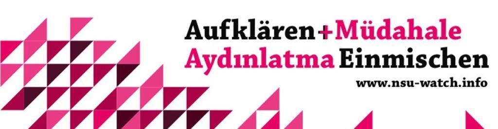 """Banner der NSU-Watch für den Podcast """"Aufklären und Einmischen"""""""