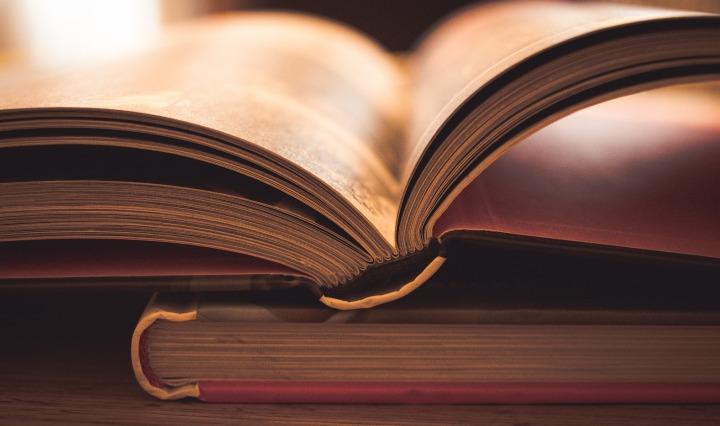 Bücher, von vorne, eins liegt aufgeschlagen auf einem anderen - Bild ist in SepiaFarben mit leichtem rot